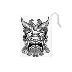 Japanese Onigawara Mask Devil Ghost Face Drawstring Pouches (small)