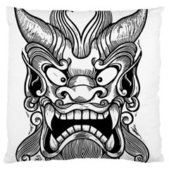 Japanese Onigawara Mask Devil Ghost Face Large Flano Cushion Case (two Sides)