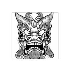 Japanese Onigawara Mask Devil Ghost Face Satin Bandana Scarf