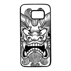 Japanese Onigawara Mask Devil Ghost Face Samsung Galaxy S7 Black Seamless Case