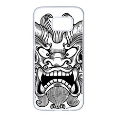 Japanese Onigawara Mask Devil Ghost Face Samsung Galaxy S7 Edge White Seamless Case