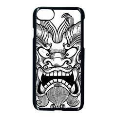 Japanese Onigawara Mask Devil Ghost Face Apple Iphone 8 Seamless Case (black)
