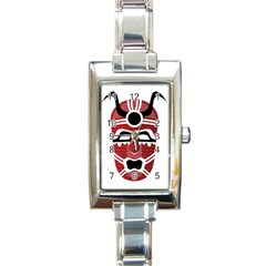 Africa Mask Face Hunter Jungle Devil Rectangle Italian Charm Watch