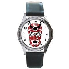 Africa Mask Face Hunter Jungle Devil Round Metal Watch