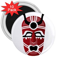 Africa Mask Face Hunter Jungle Devil 3  Magnets (10 Pack)