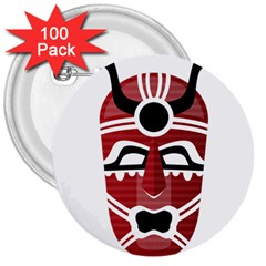 Africa Mask Face Hunter Jungle Devil 3  Buttons (100 Pack)