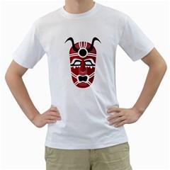 Africa Mask Face Hunter Jungle Devil Men s T Shirt (white) (two Sided)