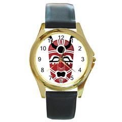 Africa Mask Face Hunter Jungle Devil Round Gold Metal Watch