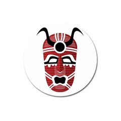 Africa Mask Face Hunter Jungle Devil Magnet 3  (round)