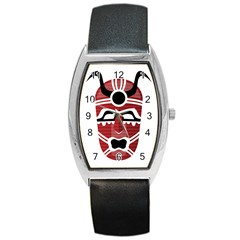 Africa Mask Face Hunter Jungle Devil Barrel Style Metal Watch