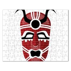 Africa Mask Face Hunter Jungle Devil Rectangular Jigsaw Puzzl