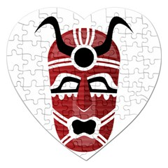 Africa Mask Face Hunter Jungle Devil Jigsaw Puzzle (heart)