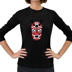 Africa Mask Face Hunter Jungle Devil Women s Long Sleeve Dark T Shirts