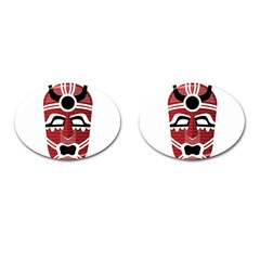 Africa Mask Face Hunter Jungle Devil Cufflinks (oval)