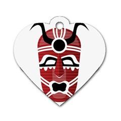 Africa Mask Face Hunter Jungle Devil Dog Tag Heart (one Side)