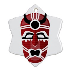 Africa Mask Face Hunter Jungle Devil Snowflake Ornament (two Sides)