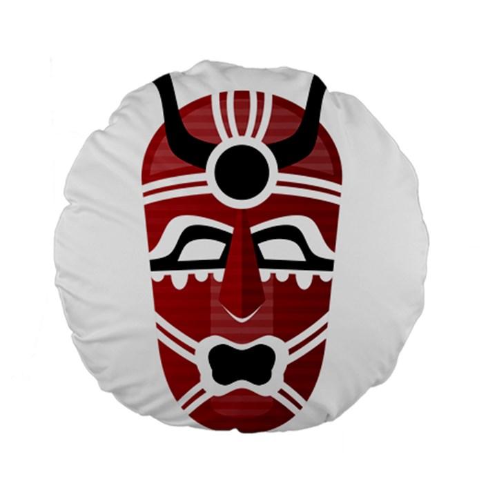 Africa Mask Face Hunter Jungle Devil Standard 15  Premium Round Cushions