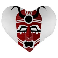 Africa Mask Face Hunter Jungle Devil Large 19  Premium Heart Shape Cushions
