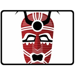 Africa Mask Face Hunter Jungle Devil Double Sided Fleece Blanket (large)