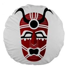 Africa Mask Face Hunter Jungle Devil Large 18  Premium Flano Round Cushions