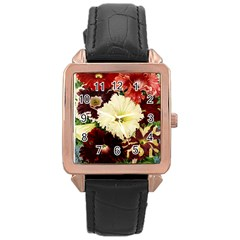 Flowers 1776585 1920 Rose Gold Leather Watch