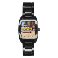 Retro Cars Stainless Steel Barrel Watch