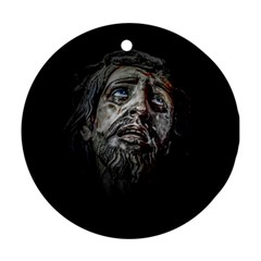 Jesuschrist Face Dark Poster Ornament (round)