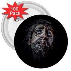 Jesuschrist Face Dark Poster 3  Buttons (100 Pack)