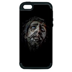 Jesuschrist Face Dark Poster Apple Iphone 5 Hardshell Case (pc+silicone)