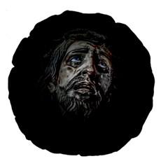 Jesuschrist Face Dark Poster Large 18  Premium Round Cushions
