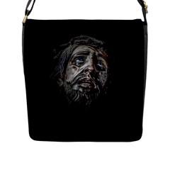 Jesuschrist Face Dark Poster Flap Messenger Bag (l)