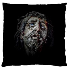 Jesuschrist Face Dark Poster Large Flano Cushion Case (one Side)