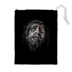 Jesuschrist Face Dark Poster Drawstring Pouches (extra Large)