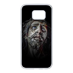 Jesuschrist Face Dark Poster Samsung Galaxy S7 Edge White Seamless Case