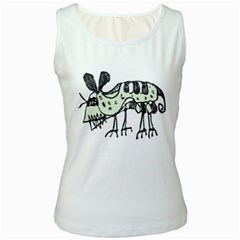 Monster Rat Pencil Drawing Illustration Women s White Tank Top