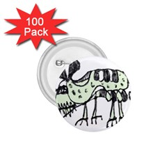 Monster Rat Pencil Drawing Illustration 1 75  Buttons (100 Pack)