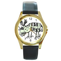 Monster Rat Pencil Drawing Illustration Round Gold Metal Watch