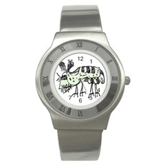 Monster Rat Pencil Drawing Illustration Stainless Steel Watch