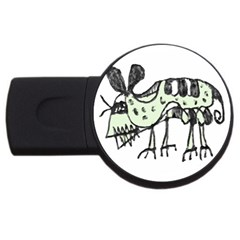 Monster Rat Pencil Drawing Illustration Usb Flash Drive Round (4 Gb)