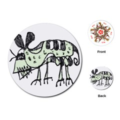Monster Rat Pencil Drawing Illustration Playing Cards (round)