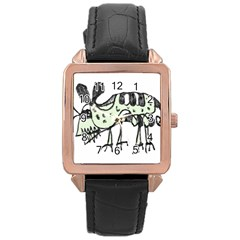 Monster Rat Pencil Drawing Illustration Rose Gold Leather Watch