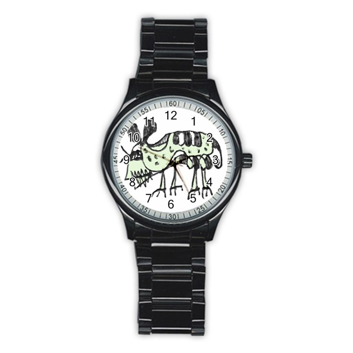 Monster Rat Pencil Drawing Illustration Stainless Steel Round Watch