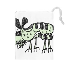 Monster Rat Pencil Drawing Illustration Drawstring Pouches (large)