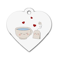 Cute Tea Dog Tag Heart (one Side)