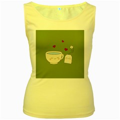Cute Tea Women s Yellow Tank Top