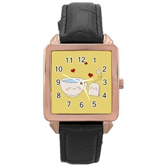 Cute Tea Rose Gold Leather Watch