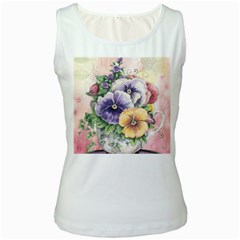 Lowers Pansy Women s White Tank Top