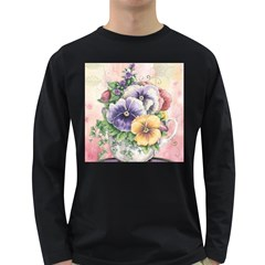 Lowers Pansy Long Sleeve Dark T Shirts