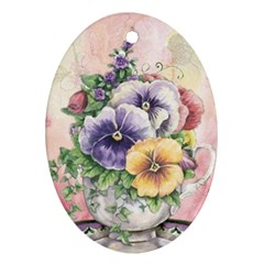 Lowers Pansy Oval Ornament (two Sides)