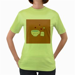 Cute Tea Women s Green T Shirt